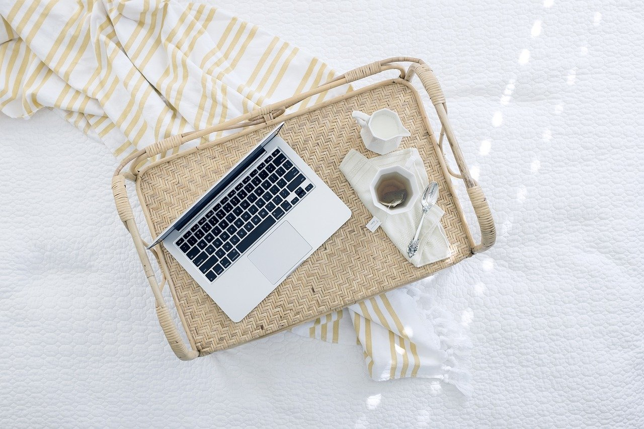 laptop computer, tray, tea